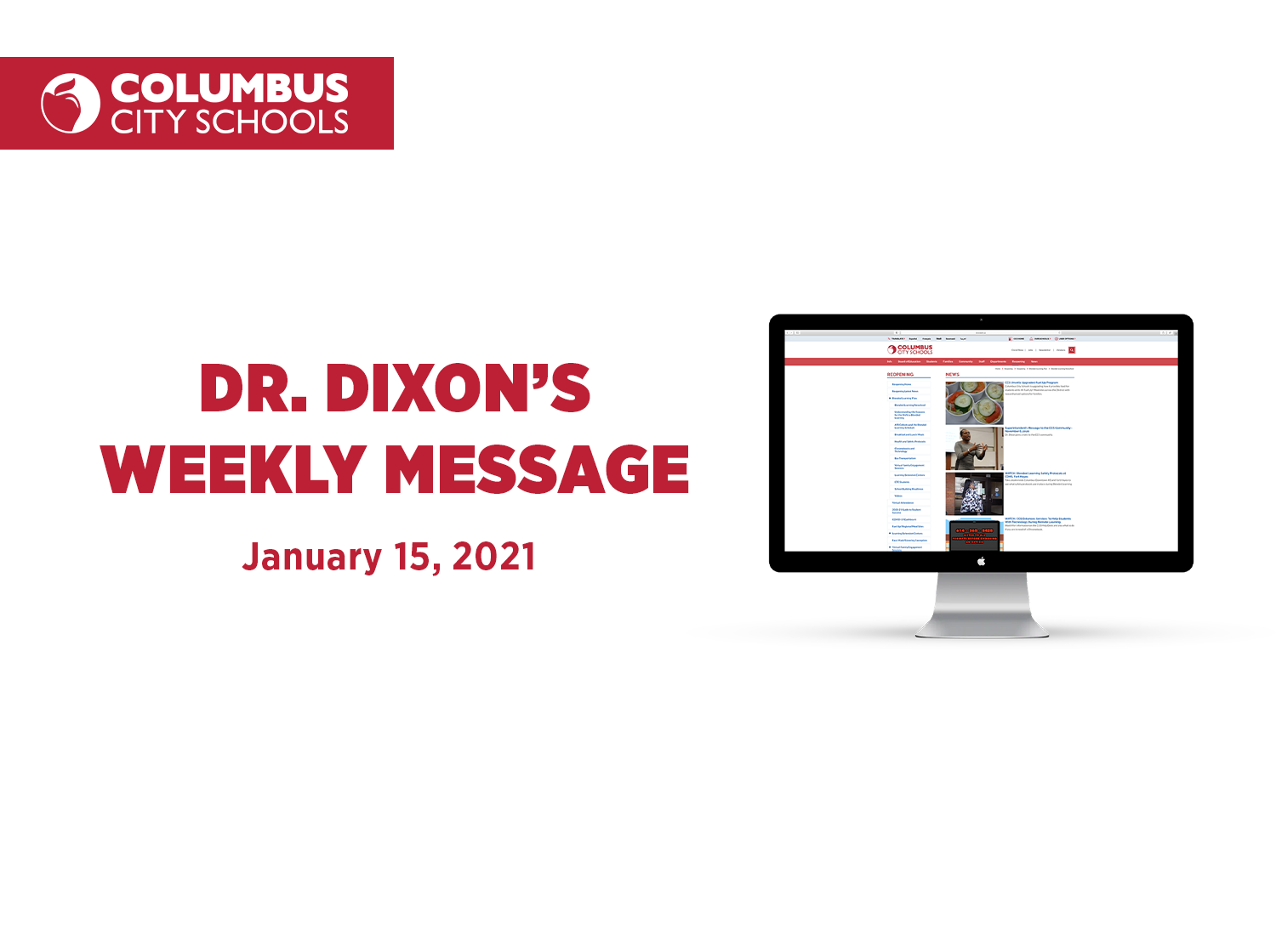 Superintendent's Weekly Message - January 15, 2021